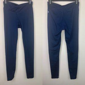 Fabletics crossover waistband navy leggings, XS